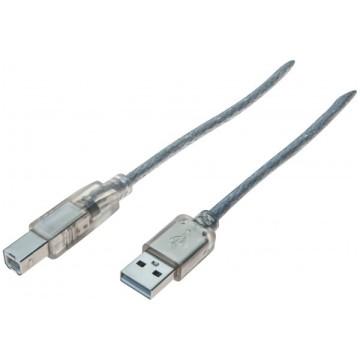 Cordon USB 2.0 type  A / B transparent - 5,0 m532426Cordon USB 2.0 type  A / B transparent - 5,0 m